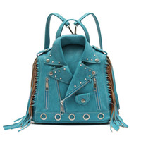 Wholesale Woman Cheap Pu Leather Jacket - Richmilan-----2018 Manufactory Cheap ladies packs Motorcycle Jacket Fringe Backpack for women China bags market