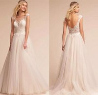 Wholesale chic sheath wedding dresses online - Chic Elegant Cap Sleeves Soft Tulle A Line Wedding Dresses Backless Covered BUttons Applique Lace Beach Custom Made Wedding Gowns