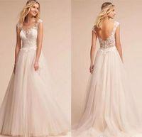 düğün olmayan düğün elbisesi düğmeleri toptan satış-Chic Zarif Cap Kollu Yumuşak Tül Line Gelinlik 2017 Backless Kapalı BUttons Aplike Dantel Plaj Custom Made Gelinlikler