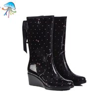 Wholesale Dot Rain Boots Women - Wholesale-Women's Waterproof Zipper Type Wedges Slip-resistant Rainboots High Barrel Women Rain Boots Ladies Fashion Water Shoes for Sale