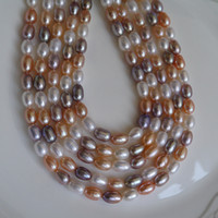 Wholesale Pink Fresh Water Pearl Necklace - 2017 new DIY beads Mix colour Grain shape Natural fresh water pearl necklace 6--7mm loose beads of pearl accessories wholesale Free shipping