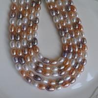 cuentas de color natural al por mayor-2017 nuevas cuentas de bricolaje color de la mezcla forma de grano collar de perlas de agua dulce natural 6--7mm perlas sueltas de perlas accesorios al por mayor envío gratuito