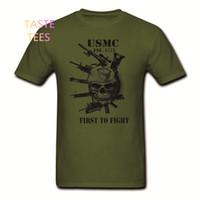 Wholesale Marine Breathable - Fashion USMC T Shirt US Marines Semper Fidelis Devil Dog Semper Fi Military Veteran Cotton O Neck Short Sleeve Shirts Brand Tees
