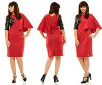 Wholesale Womens Batwing Sleeve Dress - Womens Fashion PU Leather Patchwork Slim Sheath Dresses For Female Brand Plus Size Casual Short Sleeve Ruffles Bodycon Dress 6XL