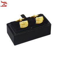 Wholesale cufflink boxes wholesale - Wholesale 10Pcs Men's Black Cufflink Box Classicia Jewelry Gift Box Brand Cufflink Package Cases Box 8x4x3cm Free Shipping