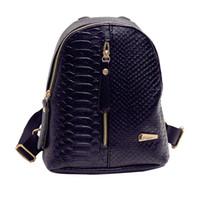 Wholesale Snakeskin Backpack - Wholesale- 2017 Small Women Backpack Black Rucksack Serpentine Mini Pu Leather Women Snakeskin Purses Bag Girls School korean Backpacks