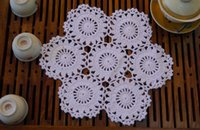 Wholesale round crochet tablecloth - Wholesale- 25cm Creative cotton crocheted table mat pad DIY cup coaster tablecloth placemat for gift wedding kitchen christmas decoration