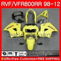interceptor amarillo al por mayor-VFR800 para HONDA Interceptor brillante Amarillo VFR800RR 98 99 00 01 02 03 04 12 90NO35 VFR 800 RR 1998 1999 2000 2001 2002 2003 2004 2012 Carenado
