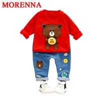 Wholesale Cashmere 2t - MORENNA Boys Clothes Suit 2017 Autumn Style Children Clothing Sets T-shirt+Pants 2pcs Baby Boys Girls = Sports Suit Kids Clothes