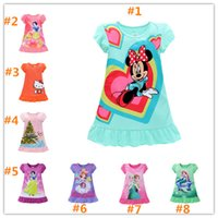 Wholesale Girls Nightgowns - Girls summer dresses Elsa Anna Mermaid Snow White Minnie Cartoon kids pajamas polyester nightgowns sleepwear clothes B001