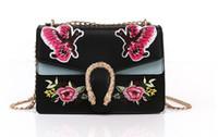 Wholesale fringes bag - 2017 women famous brands Embroidered rose flowers bag fringe crossbody shoulder strap bag luxury designer leather Handbag bag