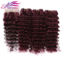 Hot Sale Unprocessed 99j Deep Virgin Hair With Closure # 99J Malásia Cabelo Humano 3 Pacotes com encaixe encerramento 4Pcs Lot Red Hair