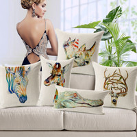 Wholesale Rhino Cover - 4 Styles Pillow Cover Giraffe Rhino Zebra Elk Cushion Cover Sqaure Cotton Linen Animal Printed Pillow Case Custom DIY Factory Wholesaler