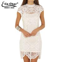 Wholesale Plus Size Chinese Dresses Clothing - Wholesale- Women Dress 2017 Bodycon Dresses Eliacher Brand Plus Size Chinese Women Clothing Sexy White Evening Party Lace Dresses