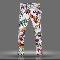 Wholesale Yellow Jeans For Boys - Spring summer male white printing jeans long pants Middle-waist tide fashion tide jeans trousers Korean style slim long pants for young boy