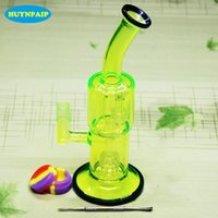 Wholesale Pipe Tobacco Products - Hot product Fluorescent green glass bongs smoking water pipes for tobacco and oil rig 18.8MM Jiont free shipping