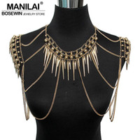 Wholesale Vintage Steel Nails - Wholesale- MANILAI Punk Type Women Sexy Body Jewelry Multi Layers Nail Pendant Tassel Body Chains Necklaces Vintage Accessories Collier