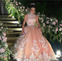 Wholesale High Neck Ball Gown Quinceanera Dresses With Lace Appliques Beads Sequins Red Carpet Prom Dress Tulle Zipper Back Graduation Dress