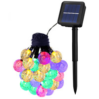 Wholesale Portable Led Fairy Light Balls - Globe Outdoor Solar String Lights 20ft 30 LED Fairy Bubble Crystal Ball Holiday Party Decoration Lights Lawn Patio