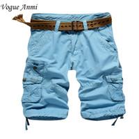 Wholesale Khaki Cargo Pants 36 - Wholesale-2016colored cargo shorts mens casual shorts cotton cargo shorts men black army khaki blue color plus size 36 38 short pants men