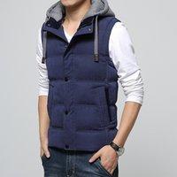 Wholesale Korean Men Winter Vest - Wholesale- Hot 2016 high-quality new winter men's Korean Slim hooded vest fashion all-match solid color thickening vest big yards M-4XL