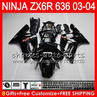 carenagem ninja zx venda por atacado-8Presentes 23Corpo Carroçaria Para KAWASAKI NINJA ZX-6R 03-04 ZX-636 29HM1 brilho preto 600CC ZX636 ZX6R 03 04 ZX 636 ZX 6R 2003 2004 kit Carenagem