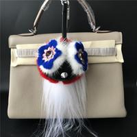Wholesale Owl Hanger - Genuine Real mink Fur Owl Bird Monster Flowery Mini Bag Bug charm Fur Ball plush PomPom Pendent Tassels Keychain