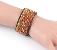 Wholesale Irregular Cuff Bangle - New Irregular Natural Crystal Multicolor Stone Bracelet Women Wide Leather Magnet Clasp Bangle Cuff Bracelets Small Gifts YN