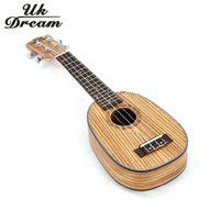 Wholesale Ukulele Classic - Wholesale- Musical Instruments 21 inch Ukulele Zebrano Closed Knob Wooden Guitar Pineapple Barrel Classic 4 String Guitar Uk Dream US-224P