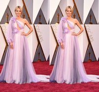Wholesale Heidi Klum Blue Dress - 2016 Light Purple Heidi Klum in Marchesa Celebrity Red Carpet Dresses 88th Academy Awards Oscars One Shoulder Tulle Backless Evening Dresses