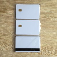 Wholesale Hico Card - Wholesale- 10pcs White SLE4442 contact chip pvc smart card with 8mm Hico magnetic stripe