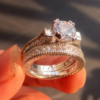 Wholesale Princess Cut Cz Rings - Vintage luxury Jewelry 14KT White gold filled Princess-cut Diamond CZ gemstone Wedding Rings Set for Women His Girlfriend Gift Party 2-in-1