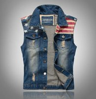 Wholesale Flag Denim Jacket - Wholesale- 2016 New Arrival Brand Mens Denim Vest Men Cowboy Sleeveless Vintage Jacket Tank Spring Stipe & Star flag washed vest M-XXXL