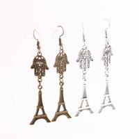 Wholesale metal charms pendants eiffel tower - 12pcs lot Metal Alloy Zinc Hamsa Hand Connector Eiffel Tower Pendant Charm Drop Earing Diy Jewelry Making C0708