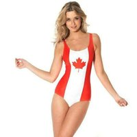 un costume spandex noir achat en gros de-Maillot de bain bikini drapeau Canada Maillot de bain taille libre Maillot de bain confortable Maillot de bain sport noir lait Maillot de bain femme