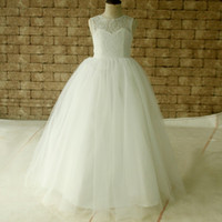 Wholesale Girls Party Dresse - 2017 Latest O-Neck Lovely Flower Girls Dresses Zipper Back Lace First Communion Dresse Birthday Party Dresses Robes Filles Fleur