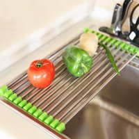Wholesale Drain Dish Rack - Kitchen sinkdrying rack Stainless steel folding draining rack Multifunctional fruit and vegetable dish wash tank filter water shelf