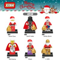 Wholesale Block C - 6pcs lot New Christmas Building Blocks Santa Claus C-3PO Harley Quinn Old Granny Mini Action Figures Building Block kid Toys X0140