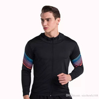 Wholesale Tight Black Jackets - The new streamer fitness fitness tight coat gym training jacket running mountaineering hoodie