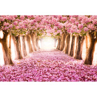 Wholesale cherry blossoms backgrounds - Pink Flowers Cherry Blossoms Backgrounds for Studio Petals Covered Road Trees Children Kids Floral Photography Backdrops