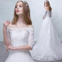 Wholesale Organza Wedding Embroidered Lace Fabric - Vestidos De Noiva 2018 China Wedding Dress Fabric Bateau Lace Up Cheap Wedding Dress Gown Court Train