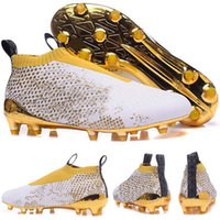 männer s fußball stiefel großhandel-2016 Männer Training Sneakers, Herren X Ace 16 + PureControl Stellar Pack FG Weißgold Fußballschuhe Schuhe Fußballschuhe Laufschuhe
