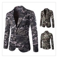 Wholesale Military Style Suit Men - Mens Suits Blazers Spring&autumn Fashion Military Style Camouflage Printing Men's A Grain of Button Casual Suits US SIZE:XS-L