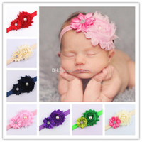 Wholesale Hair Band Diamond Pearls - 2017 infant pearl stretch headbands girl floral diamond headband headwear kids baby crystal hair bands 15 colors C1886