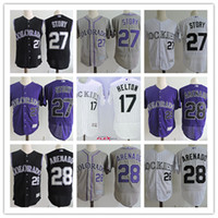 Wholesale Xxl Vests Men - Mens Colorado Rockies #27 Trevor Story Flex Base baseball Jersey stitched #28 Nolan Arenado #17 Todd Helton Rockies cool base vest Jersey