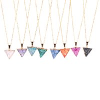 Wholesale Triangle Heart Necklace - Druzy Necklace Super Adorable Little Mini Druzy Quartz Crystal Triangle Necklace Gold Edged Druzy Drusy Jewelry Bridesmaid Gift for Wedding