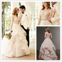 Wholesale Designer Beaded Wedding Gowns - 2017 New Designer A-line Wedding Dresses Robe de Mariee Beaded Crystal Tiers Bohemian Lace Wedding Dress Backless Organza Bridal Gowns