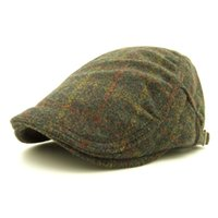 Wholesale Painter Acrylic - Wholesale-2016 fashion artist painter plaid grid style heavy brushed wool-like berets caps hat with for adult women men unisex adjustable