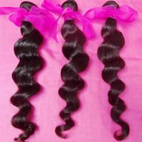 cabelo virgem indiano curl virgem venda por atacado-100% cabelo templo Indiano Virgem onda solta tece 4 pçs / lote Pacotes Grossos Ondas mais onduladas Grau 8A