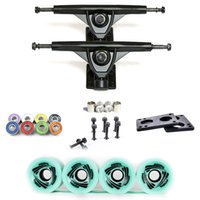 Wholesale Cheap Skateboard Wheels - Cheap price black skateboard truck blue wheels colorful ABEC-11 bearing Bolts Screws 2pcs riserpad